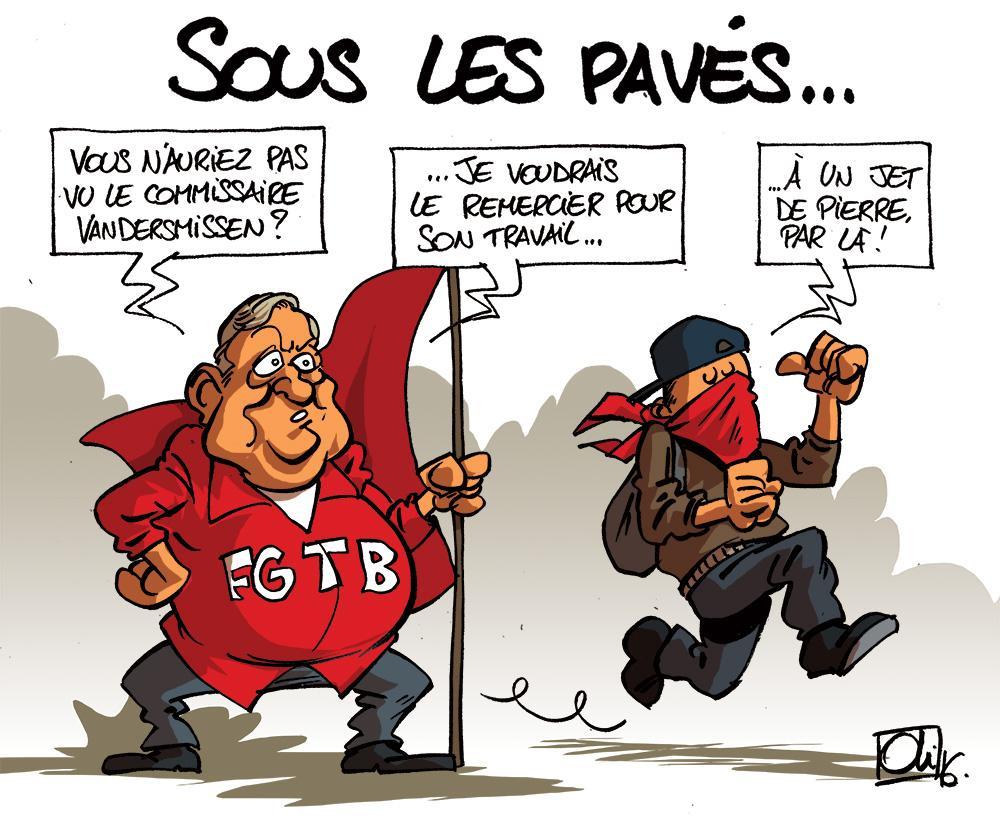 Paves-manifestation, Bruxelles-Charles-Michel-MR-FGTB-Marc-Goblet-Vandersmissen