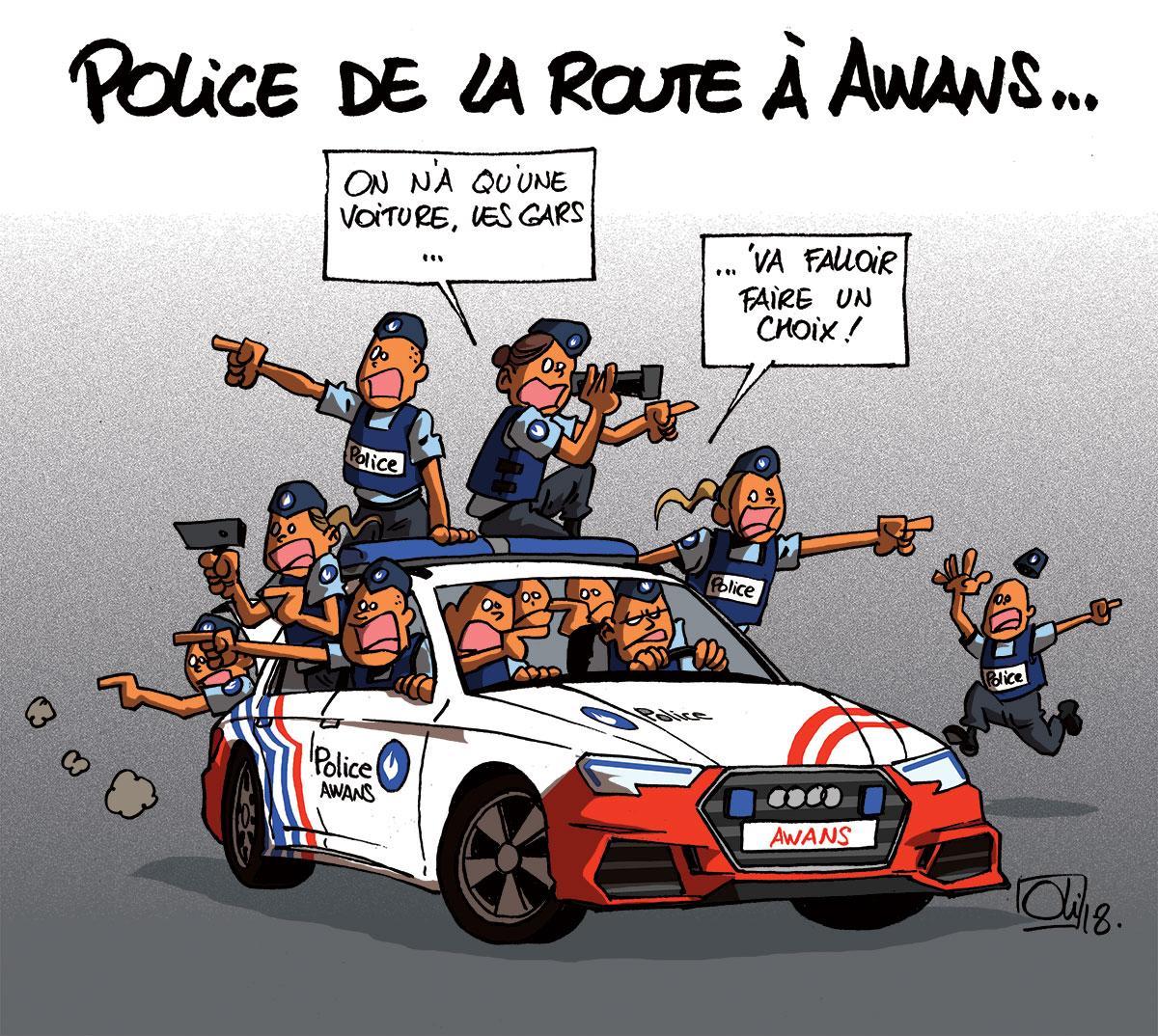 Une voiture pour 24 agents de police de la route les humeurs d 39 oli - Dessin voiture de police ...