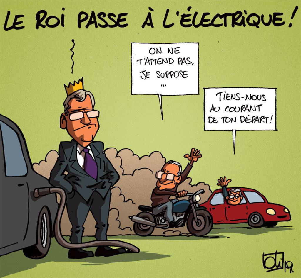 Le roi roule à l'électrique !