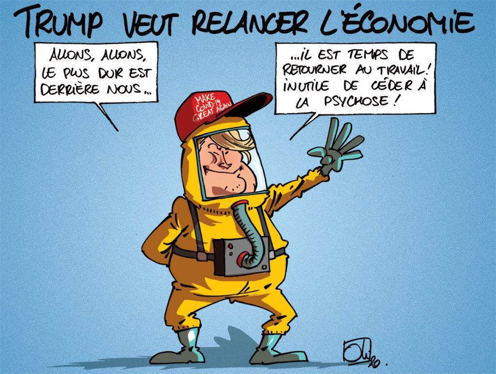Trump veut relancer l'économie au dépend des mesures sanitaires.