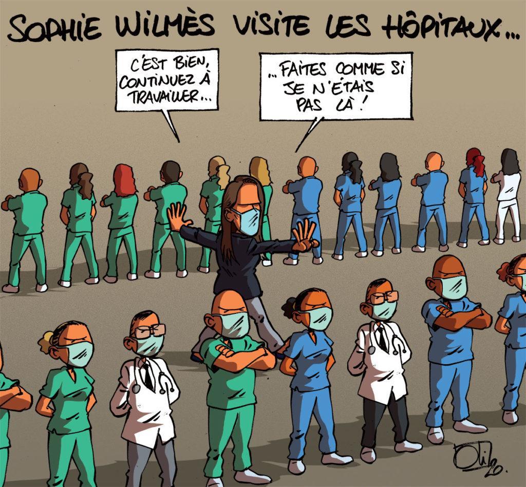 Sophie Wilmès visite les hôpitaux