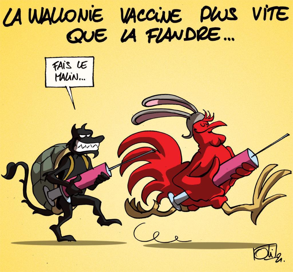 La Wallonie vaccine plus vite de la Flandre !