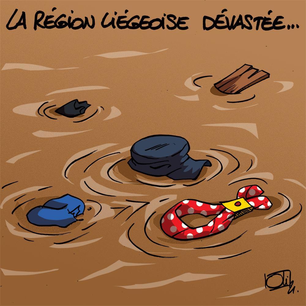 La région liégeoise dévastée...